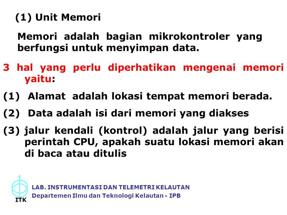 (1) Unit Memori Memori adalah bagian mikrokontroler yang berfungsi untuk menyimpan data. 3 hal yang perlu diperhatikan mengenai memori yaitu: (1) Alam