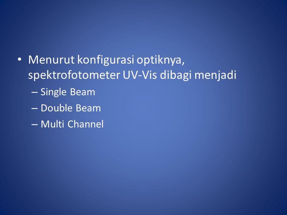 Menurut konfigurasi optiknya, spektrofotometer UV-Vis dibagi menjadi – Single Beam – Double Beam – Multi Channel