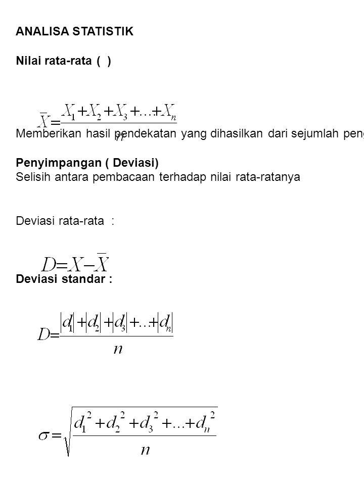 ANALISA STATISTIK Nilai rata-rata ( ) Memberikan hasil pendekatan yang dihasilkan dari sejumlah pengukuran. Penyimpangan ( Deviasi) Selisih antara pem