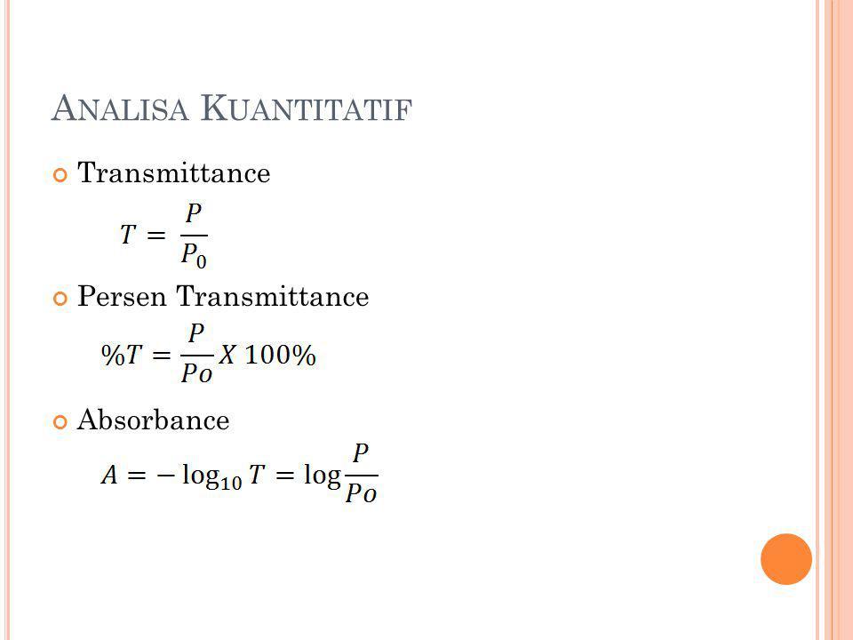 A NALISA K UANTITATIF Transmittance Persen Transmittance Absorbance