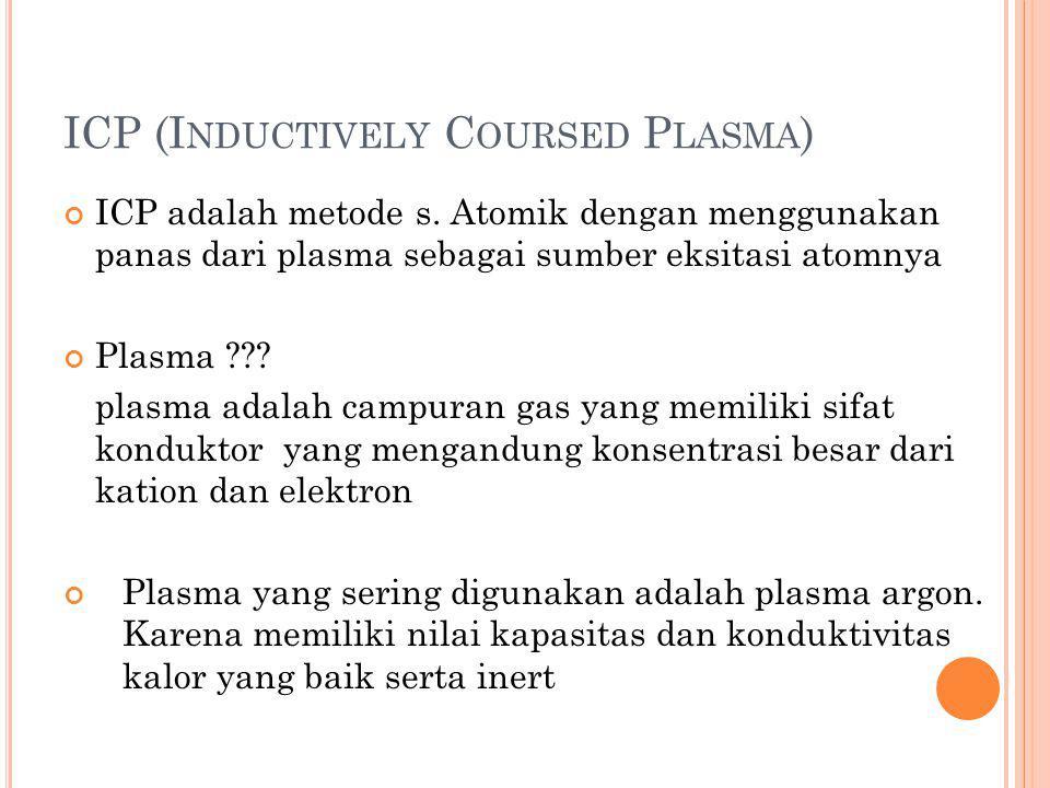 ICP (I NDUCTIVELY C OURSED P LASMA ) ICP adalah metode s. Atomik dengan menggunakan panas dari plasma sebagai sumber eksitasi atomnya Plasma ??? plasm