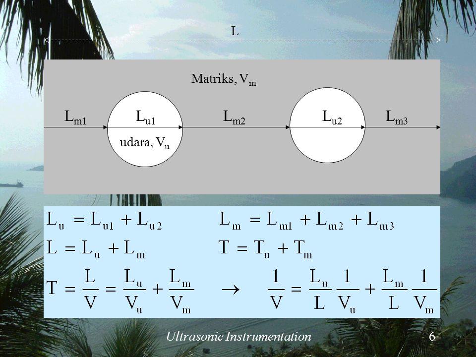 Ultrasonic Instrumentation6 Matriks, V m udara, V u L u1 L u2 L m1 L m2 L m3 L