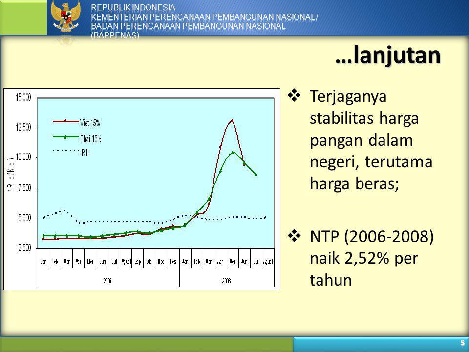 6 …lanjutan  Produksi pangan dan stabilitas harga pangan menopang kinerja perekonomian Indonesia:  Pengendalian inflasi;  Pertumbuhan PDB (sektor pertanian);  Stabilitas nasional.