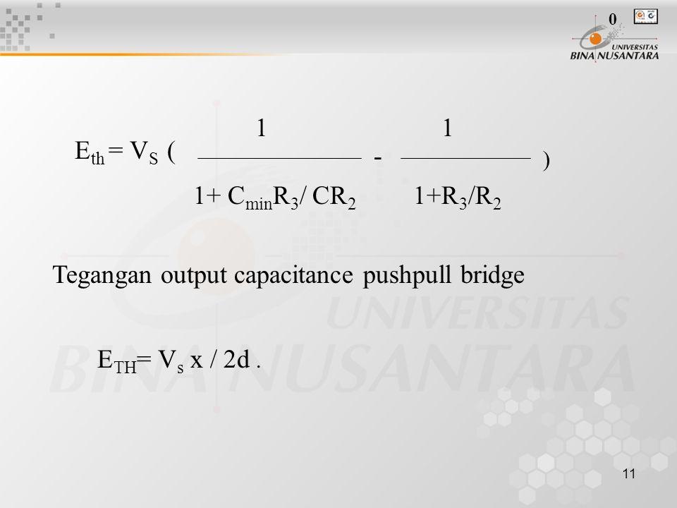11 E th = V S ( ) - 11 1+R 3 /R 2 1+ C min R 3 / CR 2 Tegangan output capacitance pushpull bridge E TH = V s x / 2d.