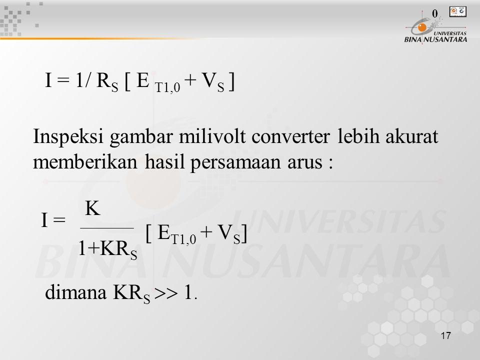 17 I = 1/ R S [ E T1,0 + V S ] Inspeksi gambar milivolt converter lebih akurat memberikan hasil persamaan arus : I = K 1+KR S [ E T1,0 + V S ] dimana
