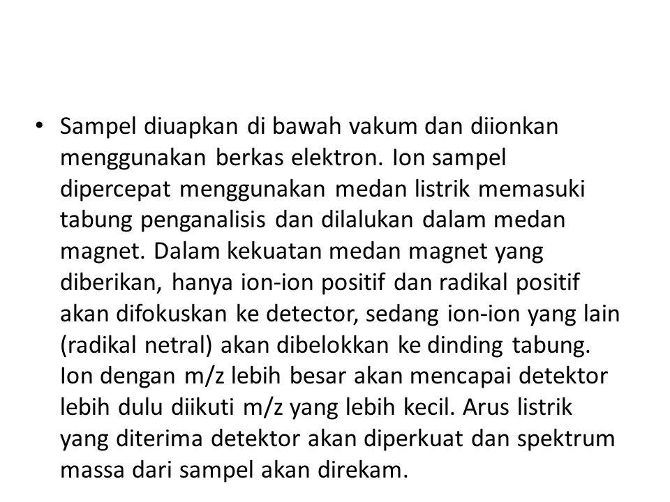 Sampel diuapkan di bawah vakum dan diionkan menggunakan berkas elektron.