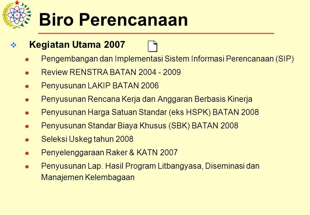  Kegiatan Utama 2007  Pengembangan dan Implementasi Sistem Informasi Perencanaan (SIP)  Review RENSTRA BATAN 2004 - 2009  Penyusunan LAKIP BATAN 2006  Penyusunan Rencana Kerja dan Anggaran Berbasis Kinerja  Penyusunan Harga Satuan Standar (eks HSPK) BATAN 2008  Penyusunan Standar Biaya Khusus (SBK) BATAN 2008  Seleksi Uskeg tahun 2008  Penyelenggaraan Raker & KATN 2007  Penyusunan Lap.