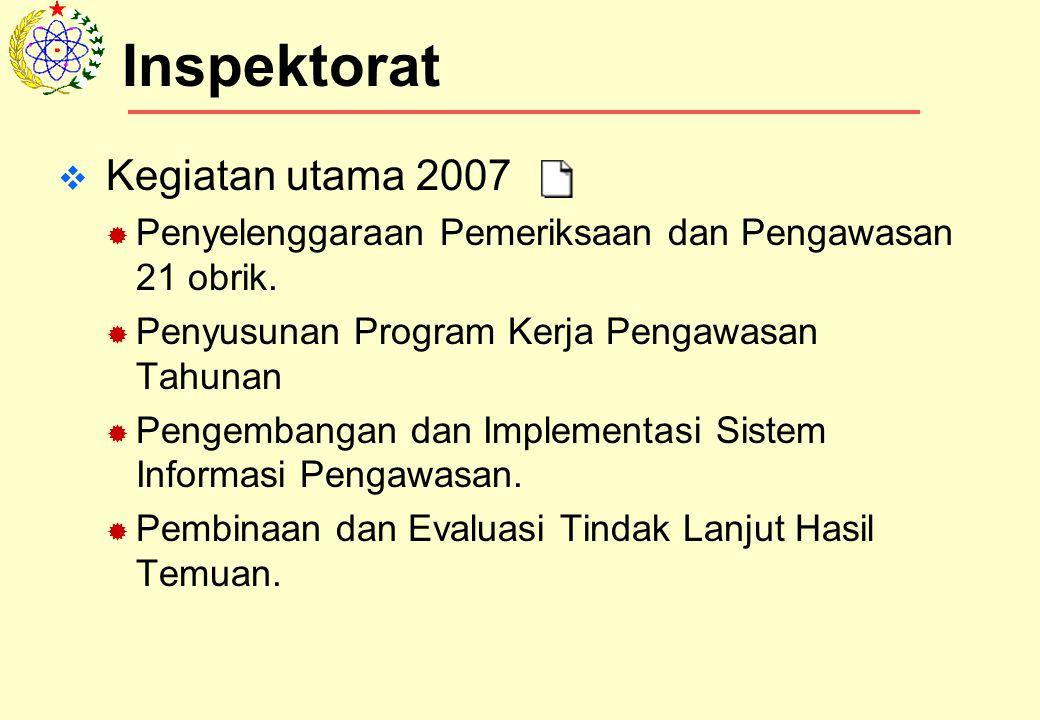  Kegiatan utama 2007  Penyelenggaraan Pemeriksaan dan Pengawasan 21 obrik.