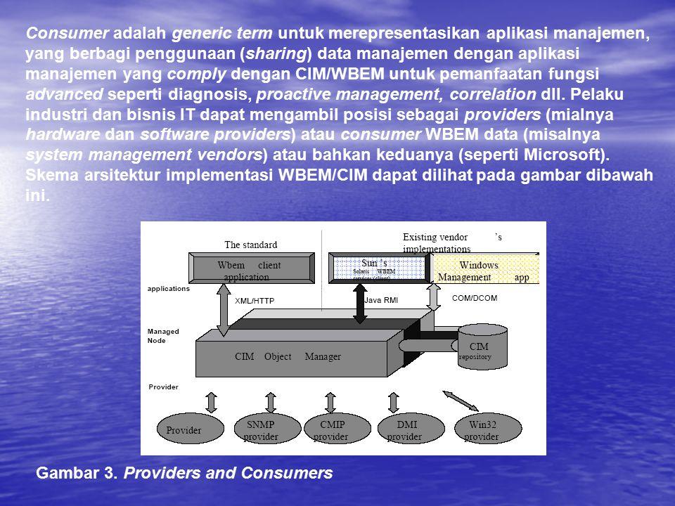 Consumer adalah generic term untuk merepresentasikan aplikasi manajemen, yang berbagi penggunaan (sharing) data manajemen dengan aplikasi manajemen ya