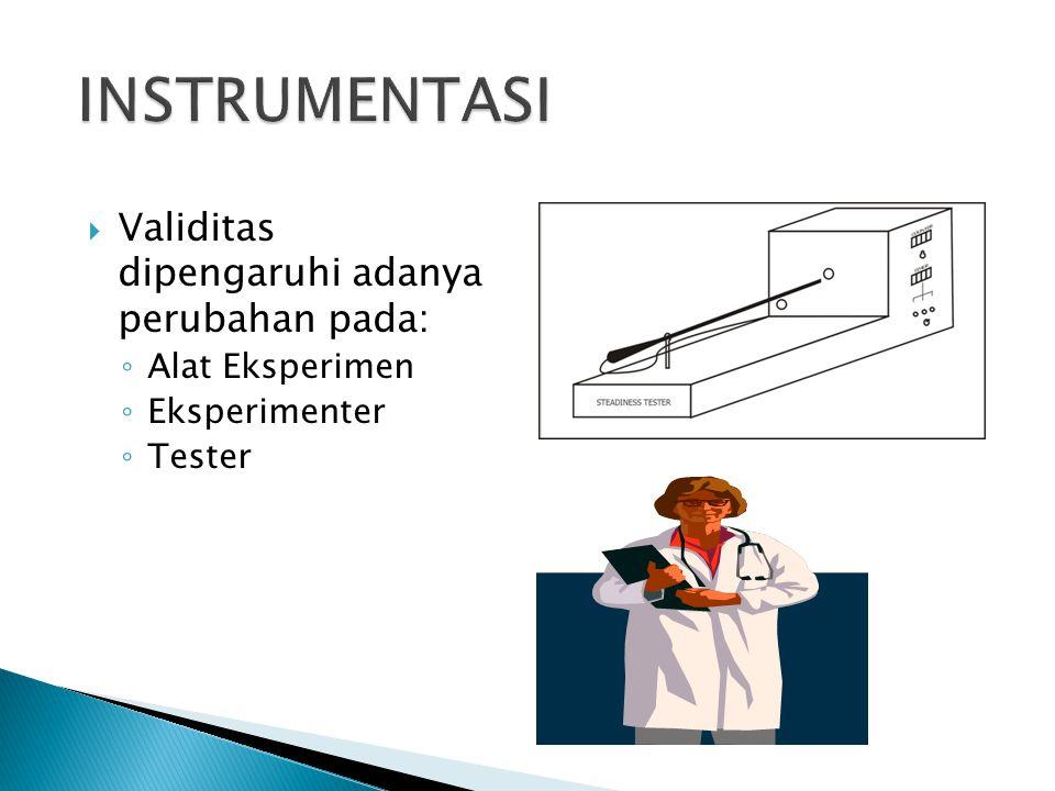  Validitas dipengaruhi adanya perubahan pada: ◦ Alat Eksperimen ◦ Eksperimenter ◦ Tester