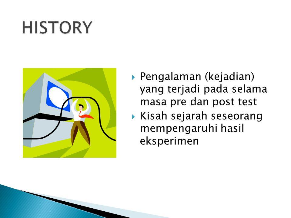  Pengalaman (kejadian) yang terjadi pada selama masa pre dan post test  Kisah sejarah seseorang mempengaruhi hasil eksperimen