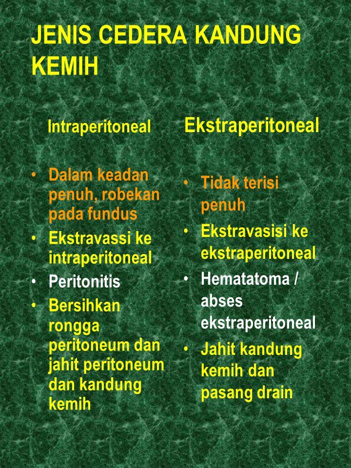 JENIS CEDERA KANDUNG KEMIH Intraperitoneal Dalam keadan penuh, robekan pada fundus Ekstravassi ke intraperitoneal Peritonitis Bersihkan rongga periton