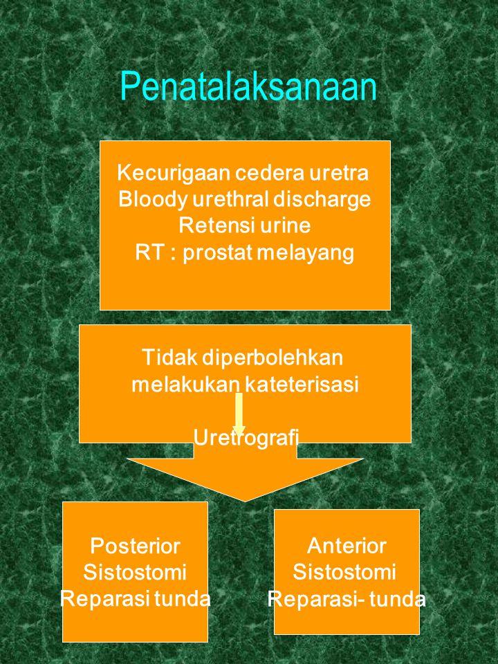Penatalaksanaan Kecurigaan cedera uretra Bloody urethral discharge Retensi urine RT : prostat melayang Tidak diperbolehkan melakukan kateterisasi Uret