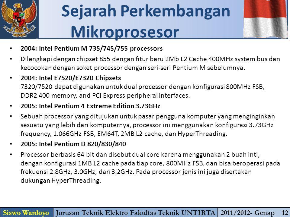 2004: Intel Pentium M 735/745/755 processors Dilengkapi dengan chipset 855 dengan fitur baru 2Mb L2 Cache 400MHz system bus dan kecocokan dengan soket processor dengan seri-seri Pentium M sebelumnya.