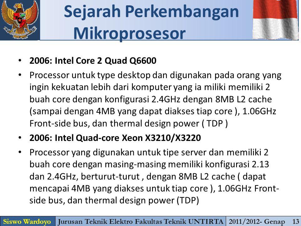 2006: Intel Core 2 Quad Q6600 Processor untuk type desktop dan digunakan pada orang yang ingin kekuatan lebih dari komputer yang ia miliki memiliki 2