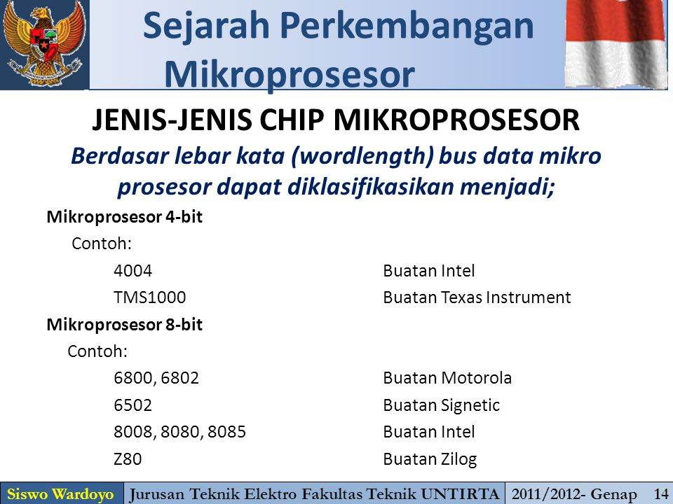 JENIS-JENIS CHIP MIKROPROSESOR Berdasar lebar kata (wordlength) bus data mikro prosesor dapat diklasifikasikan menjadi; Mikroprosesor 4-bit Contoh: 40