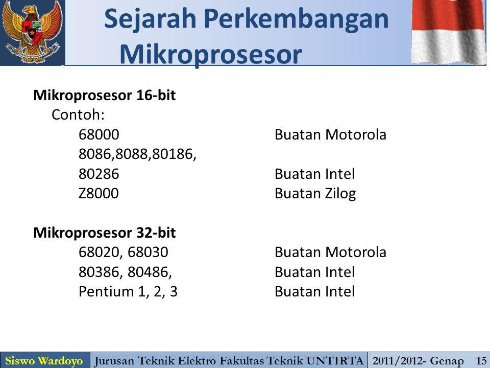 Mikroprosesor 16-bit Contoh: 68000Buatan Motorola 8086,8088,80186, 80286 Buatan Intel Z8000Buatan Zilog Mikroprosesor 32-bit 68020, 68030Buatan Motorola 80386, 80486, Buatan Intel Pentium 1, 2, 3Buatan Intel Sejarah Perkembangan Mikroprosesor Siswo WardoyoJurusan Teknik Elektro Fakultas Teknik UNTIRTA2011/2012- Genap 15