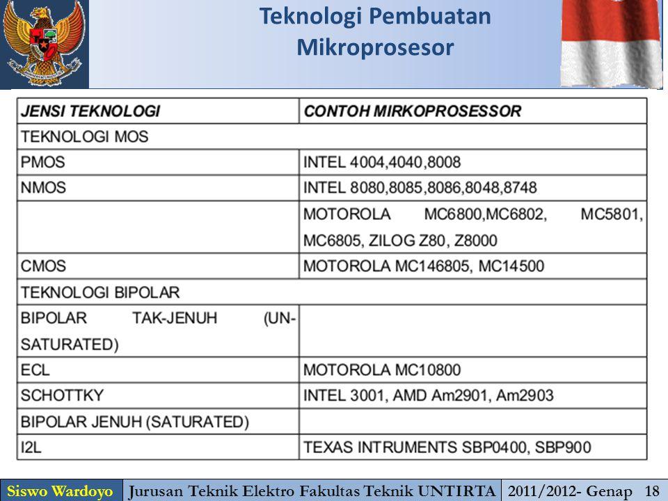 Teknologi Pembuatan Mikroprosesor Siswo WardoyoJurusan Teknik Elektro Fakultas Teknik UNTIRTA2011/2012- Genap 18