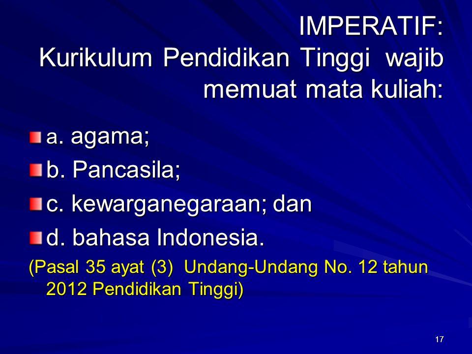 IMPERATIF: Kurikulum Pendidikan Tinggi wajib memuat mata kuliah: a. agama; b. Pancasila; c. kewarganegaraan; dan d. bahasa Indonesia. (Pasal 35 ayat (