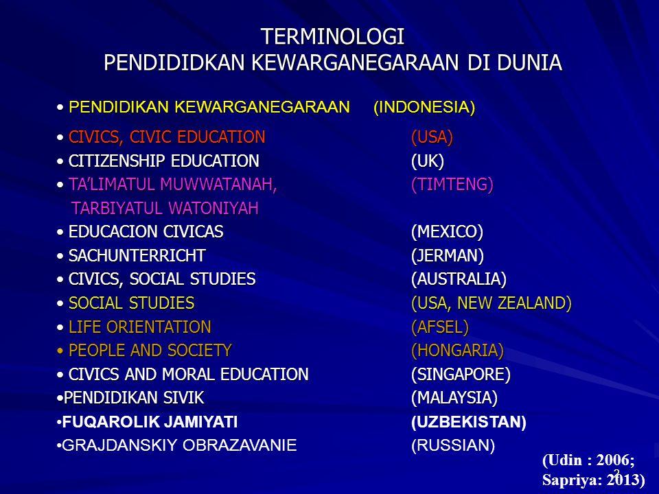 2 TERMINOLOGI PENDIDIDKAN KEWARGANEGARAAN DI DUNIA TERMINOLOGI PENDIDIDKAN KEWARGANEGARAAN DI DUNIA PENDIDIKAN KEWARGANEGARAAN (INDONESIA) PENDIDIKAN