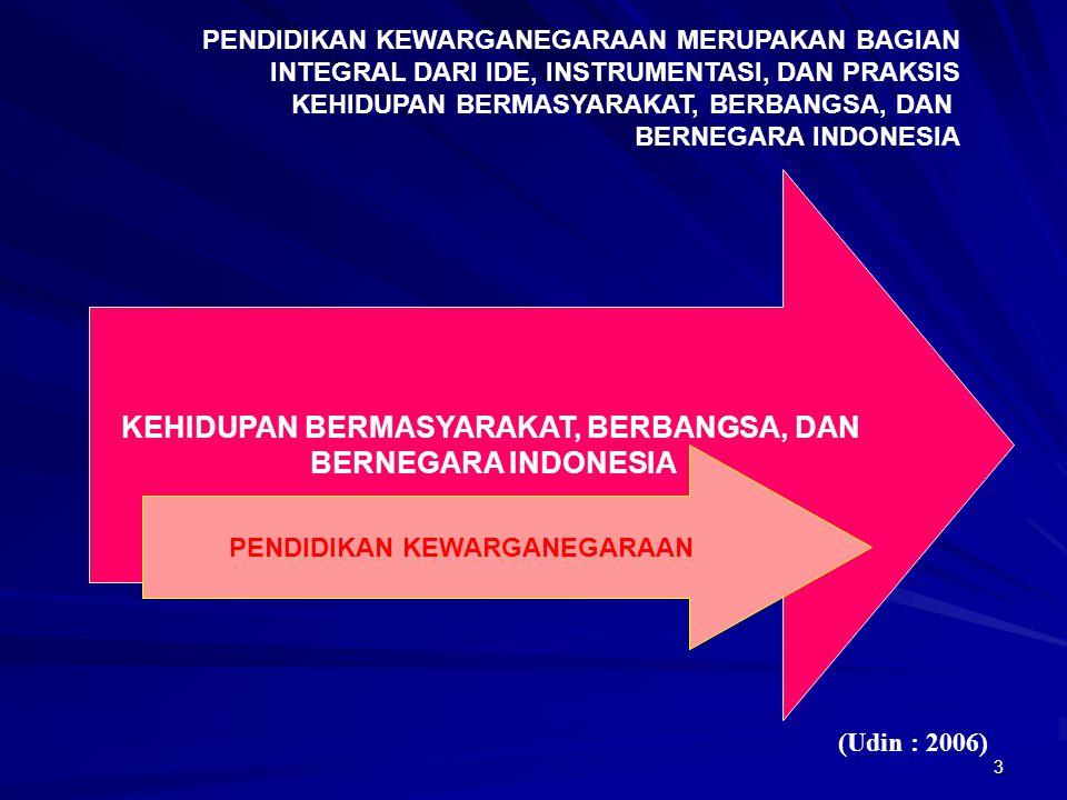 3 KEHIDUPAN BERMASYARAKAT, BERBANGSA, DAN BERNEGARA INDONESIA PENDIDIKAN KEWARGANEGARAAN PENDIDIKAN KEWARGANEGARAAN MERUPAKAN BAGIAN INTEGRAL DARI IDE