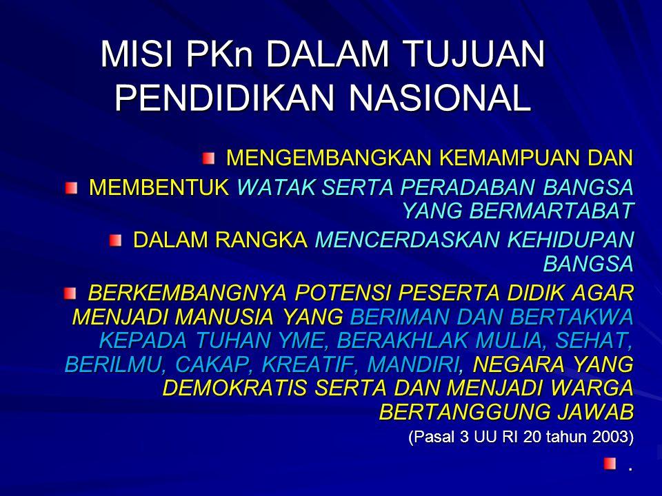 5 Pendidikan kewarganegaraan dimaksudkan untuk membentuk peserta didik menjadi manusia yang memiliki rasa kebangsaan dan cinta tanah air.(UU No.20/2003 ttg Sisdiknas) APA PKn ITU?