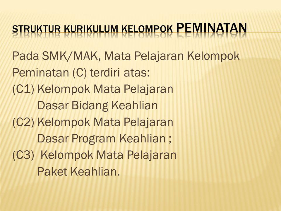 Pada SMK/MAK, Mata Pelajaran Kelompok Peminatan (C) terdiri atas: (C1) Kelompok Mata Pelajaran Dasar Bidang Keahlian (C2) Kelompok Mata Pelajaran Dasa