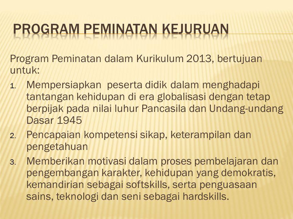 Program Peminatan dalam Kurikulum 2013, bertujuan untuk: 1. Mempersiapkan peserta didik dalam menghadapi tantangan kehidupan di era globalisasi dengan