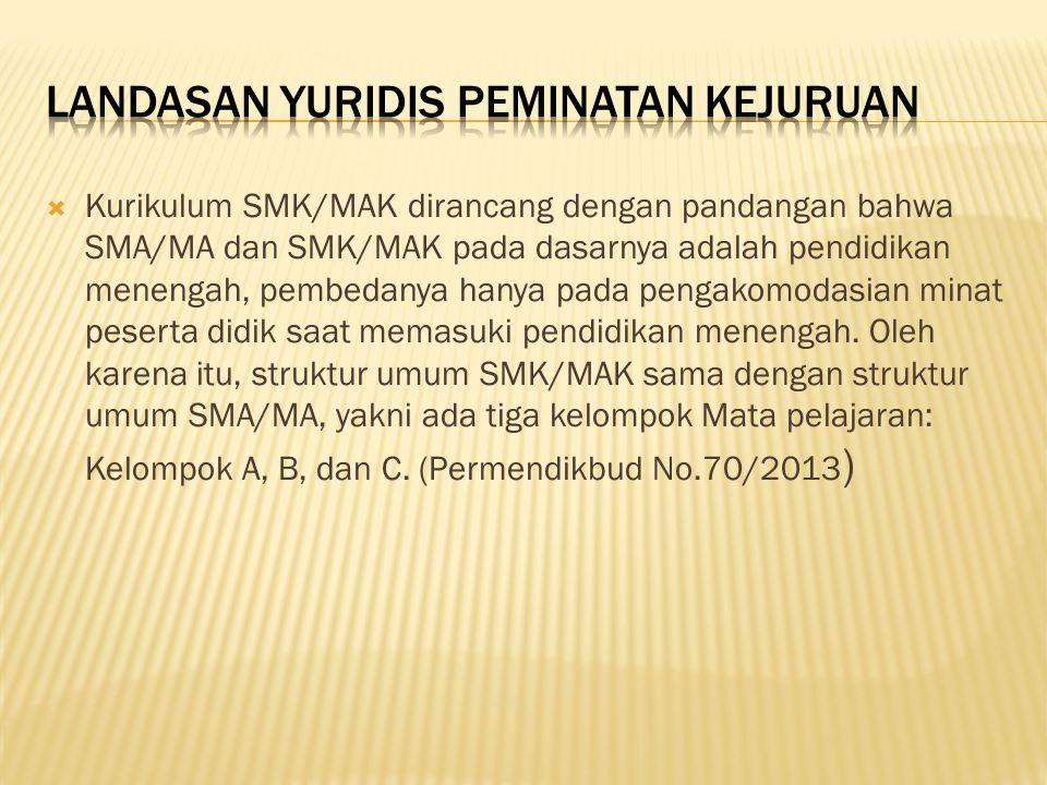  Kurikulum SMK/MAK dirancang dengan pandangan bahwa SMA/MA dan SMK/MAK pada dasarnya adalah pendidikan menengah, pembedanya hanya pada pengakomodasia
