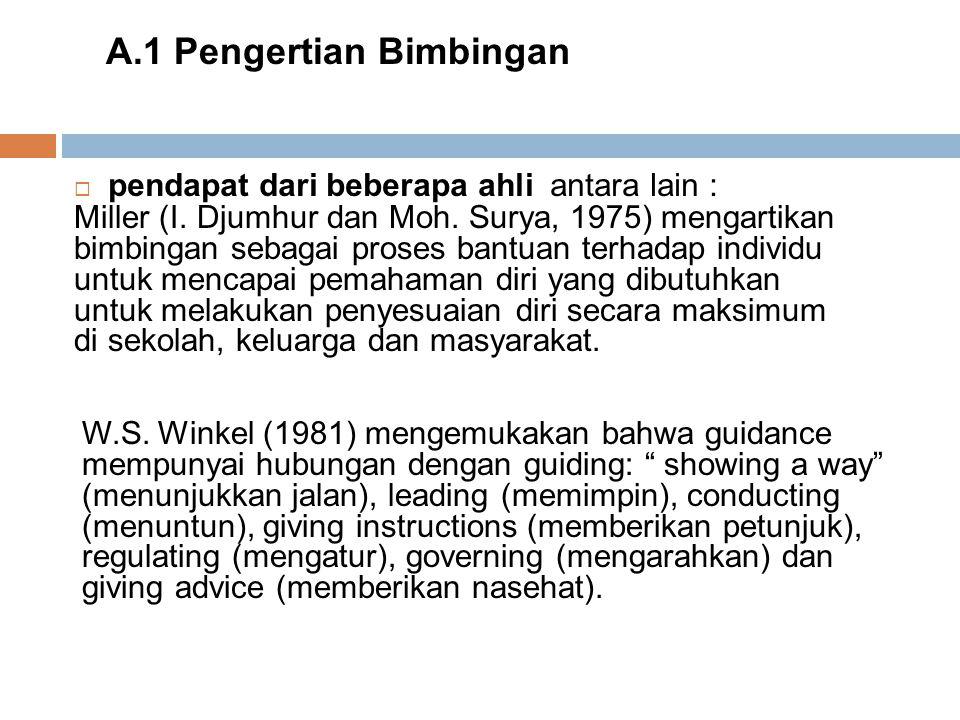  pendapat dari beberapa ahli antara lain : A.1 Pengertian Bimbingan Miller (I. Djumhur dan Moh. Surya, 1975) mengartikan bimbingan sebagai proses ban