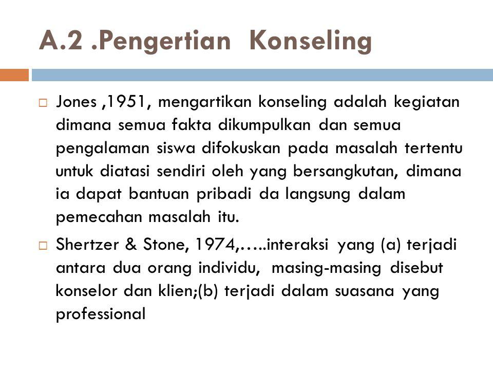 A.2.Pengertian Konseling  Jones,1951, mengartikan konseling adalah kegiatan dimana semua fakta dikumpulkan dan semua pengalaman siswa difokuskan pada