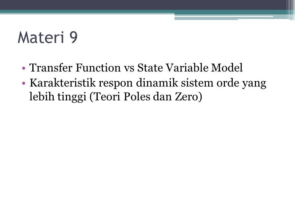 Materi 9 Transfer Function vs State Variable Model Karakteristik respon dinamik sistem orde yang lebih tinggi (Teori Poles dan Zero)