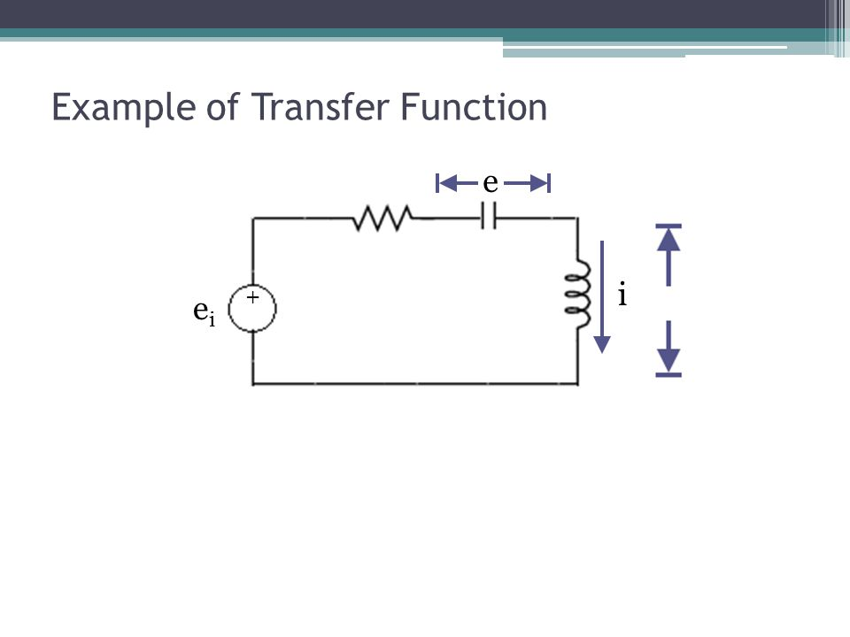 Example of Transfer Function e eiei i +