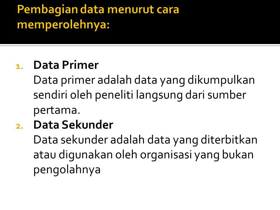 1. Data Primer Data primer adalah data yang dikumpulkan sendiri oleh peneliti langsung dari sumber pertama. 2. Data Sekunder Data sekunder adalah data