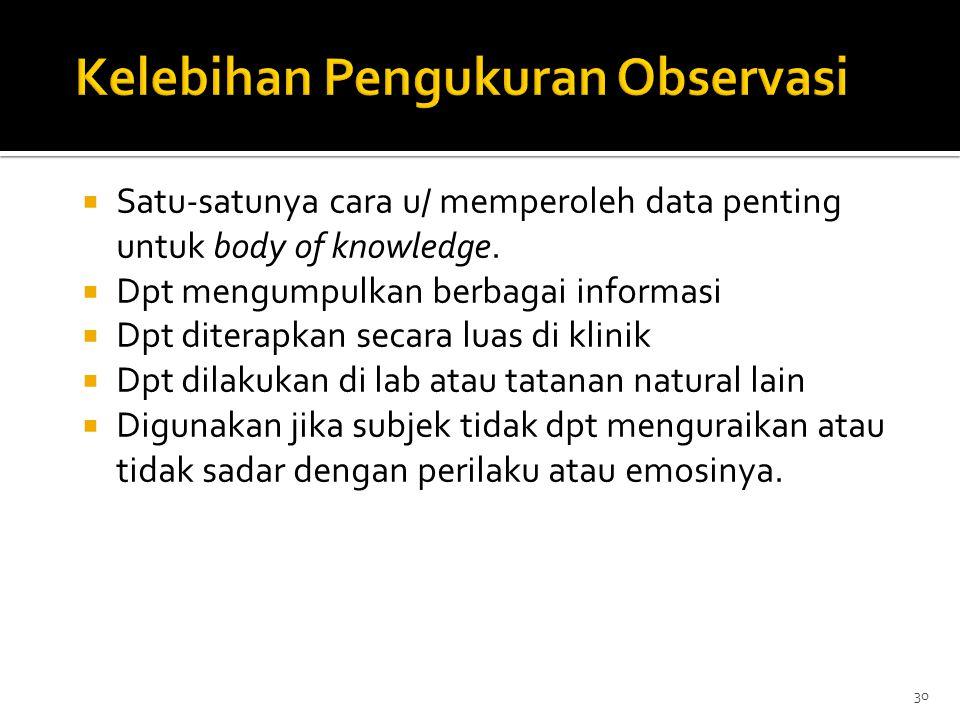 30  Satu-satunya cara u/ memperoleh data penting untuk body of knowledge.  Dpt mengumpulkan berbagai informasi  Dpt diterapkan secara luas di klini