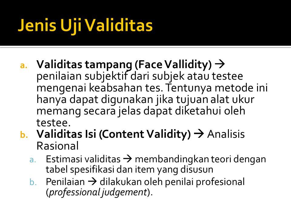 a. Validitas tampang (Face Vallidity)  penilaian subjektif dari subjek atau testee mengenai keabsahan tes. Tentunya metode ini hanya dapat digunakan