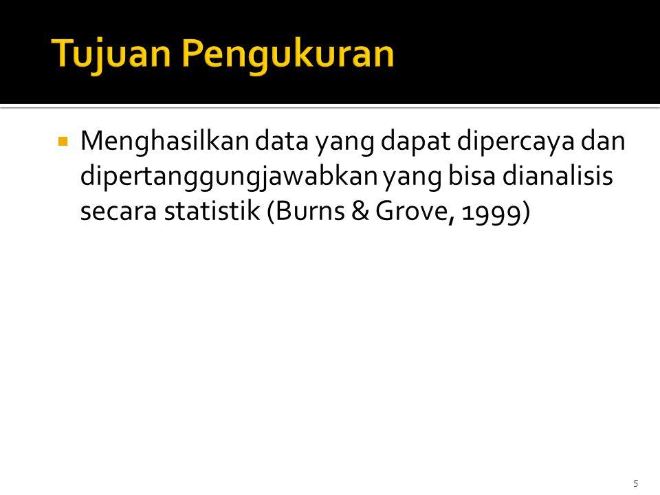 5  Menghasilkan data yang dapat dipercaya dan dipertanggungjawabkan yang bisa dianalisis secara statistik (Burns & Grove, 1999)
