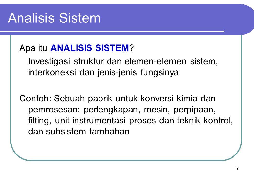 7 Analisis Sistem Apa itu ANALISIS SISTEM? Investigasi struktur dan elemen-elemen sistem, interkoneksi dan jenis-jenis fungsinya Contoh: Sebuah pabrik