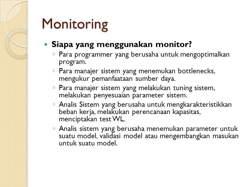 Monitoring Siapa yang menggunakan monitor? ◦ Para programmer yang berusaha untuk mengoptimalkan program. ◦ Para manajer sistem yang menemukan bottlene
