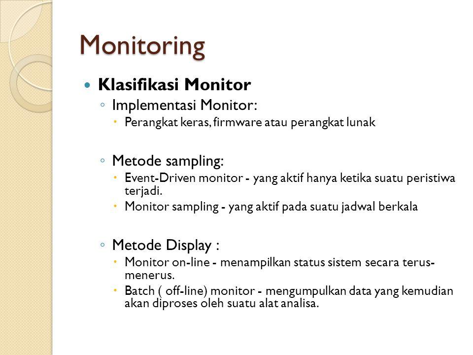 Monitoring Klasifikasi Monitor ◦ Implementasi Monitor:  Perangkat keras, firmware atau perangkat lunak ◦ Metode sampling:  Event-Driven monitor - ya