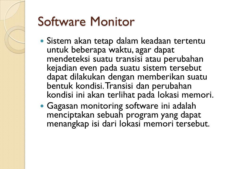 Software Monitor Sistem akan tetap dalam keadaan tertentu untuk beberapa waktu, agar dapat mendeteksi suatu transisi atau perubahan kejadian even pada