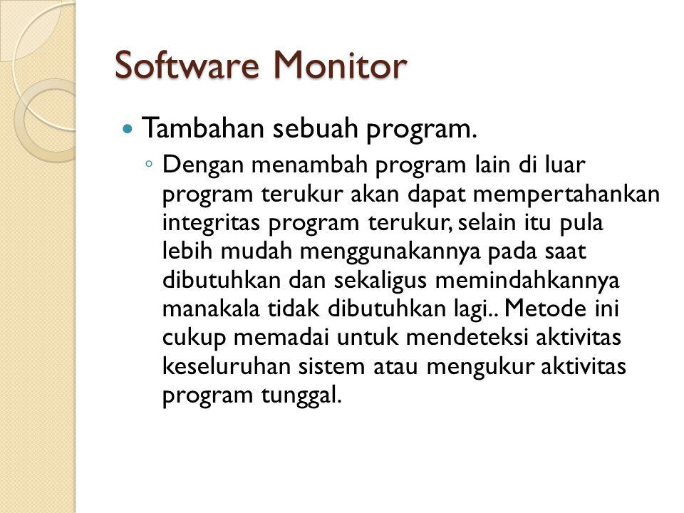 Software Monitor Tambahan sebuah program. ◦ Dengan menambah program lain di luar program terukur akan dapat mempertahankan integritas program terukur,