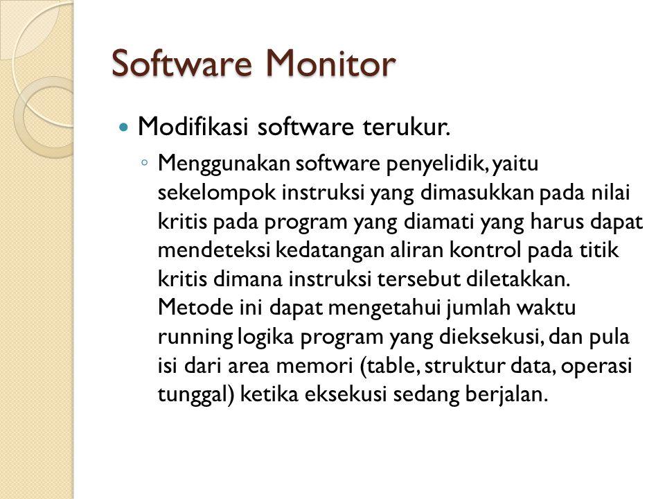 Software Monitor Modifikasi software terukur. ◦ Menggunakan software penyelidik, yaitu sekelompok instruksi yang dimasukkan pada nilai kritis pada pro