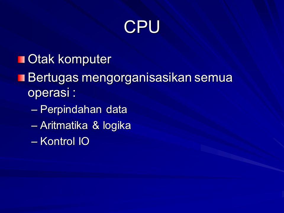 CPU Otak komputer Bertugas mengorganisasikan semua operasi : –Perpindahan data –Aritmatika & logika –Kontrol IO