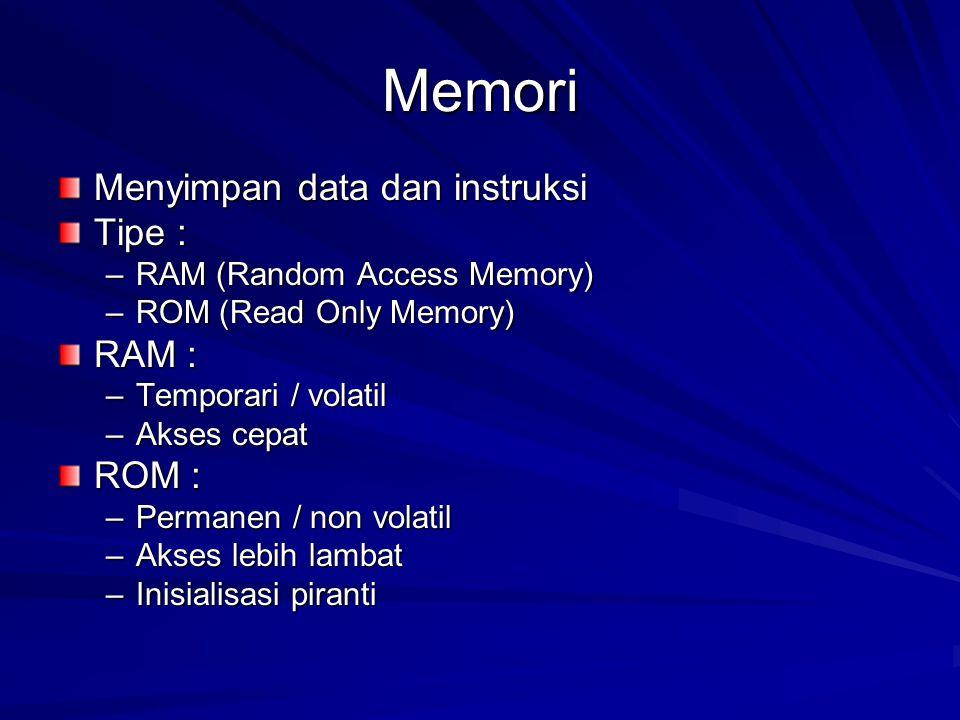 Memori Menyimpan data dan instruksi Tipe : –RAM (Random Access Memory) –ROM (Read Only Memory) RAM : –Temporari / volatil –Akses cepat ROM : –Permanen / non volatil –Akses lebih lambat –Inisialisasi piranti