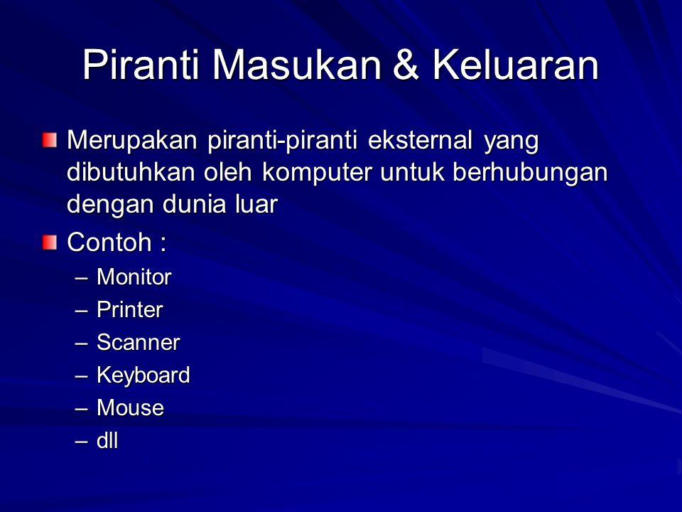 Piranti Masukan & Keluaran Merupakan piranti-piranti eksternal yang dibutuhkan oleh komputer untuk berhubungan dengan dunia luar Contoh : –Monitor –Printer –Scanner –Keyboard –Mouse –dll