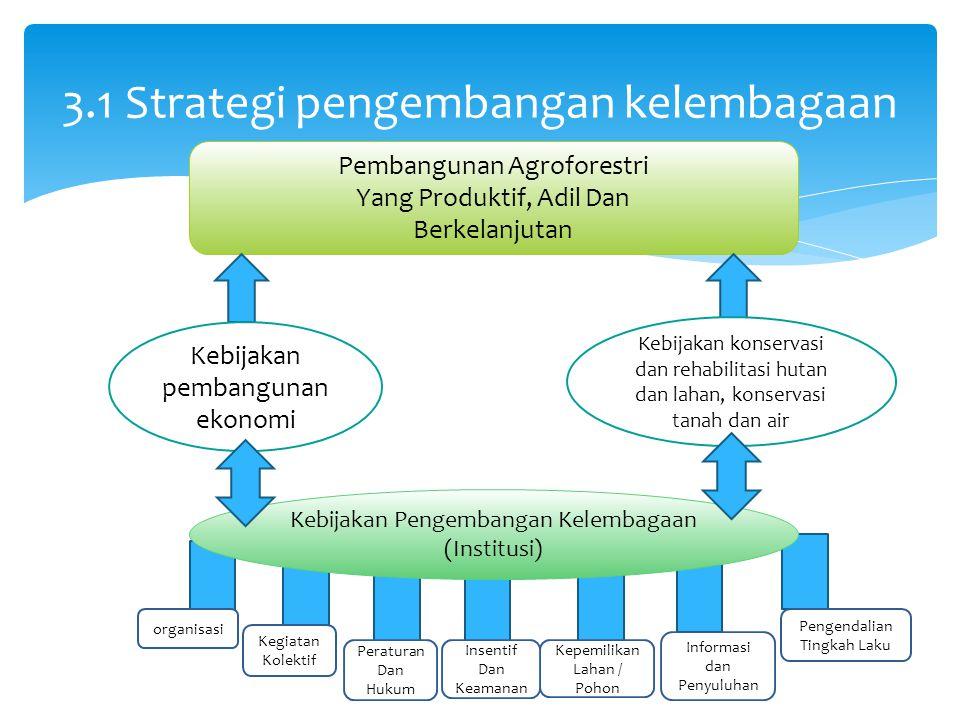 3.1 Strategi pengembangan kelembagaan Pembangunan Agroforestri Yang Produktif, Adil Dan Berkelanjutan Kebijakan pembangunan ekonomi Kebijakan konservasi dan rehabilitasi hutan dan lahan, konservasi tanah dan air organisasi Kegiatan Kolektif Pengendalian Tingkah Laku Informasi dan Penyuluhan Kepemilikan Lahan / Pohon Insentif Dan Keamanan Peraturan Dan Hukum Kebijakan Pengembangan Kelembagaan (Institusi)