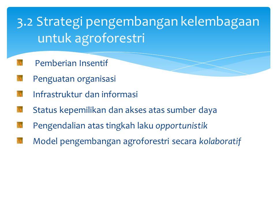 Pemberian Insentif Penguatan organisasi Infrastruktur dan informasi Status kepemilikan dan akses atas sumber daya Pengendalian atas tingkah laku opportunistik Model pengembangan agroforestri secara kolaboratif 3.2 Strategi pengembangan kelembagaan untuk agroforestri