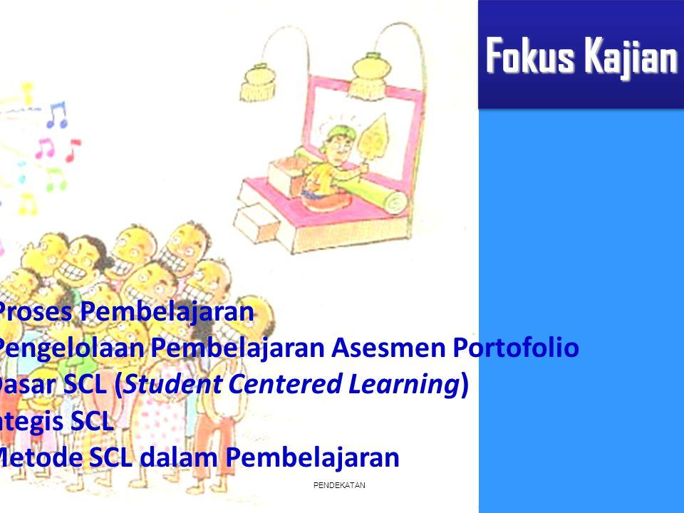 PENDEKATAN Fokus Kajian 1.Standar Proses Pembelajaran 2.Strategi Pengelolaan Pembelajaran Asesmen Portofolio 3.Konsep Dasar SCL (Student Centered Lear