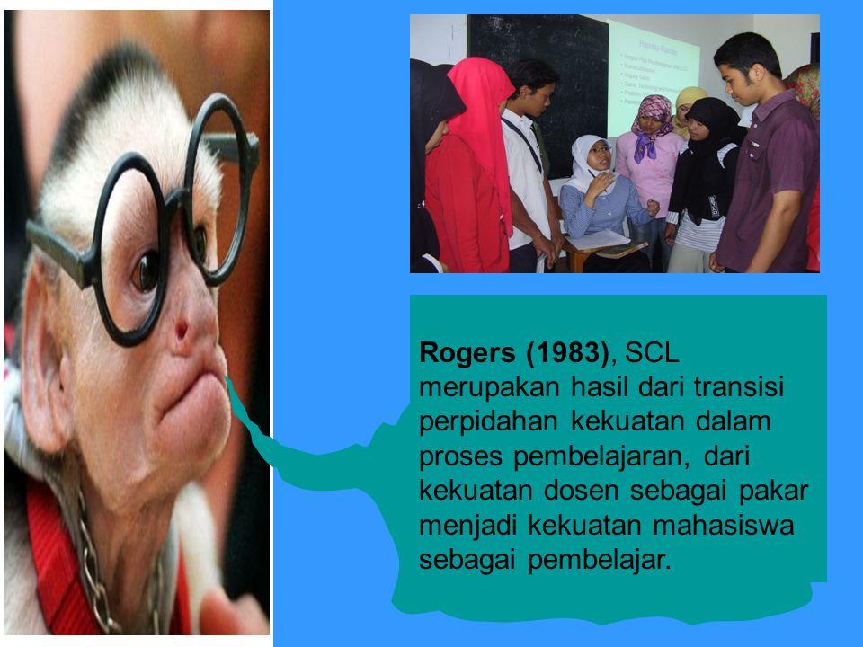 Rogers (1983), SCL merupakan hasil dari transisi perpidahan kekuatan dalam proses pembelajaran, dari kekuatan dosen sebagai pakar menjadi kekuatan mah